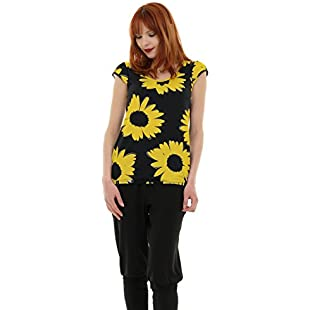 Customer reviews 3Elfen Summer Woman T-Shirt Puff Sleeve Designer Shirts Girls Cloth - Yellow margerite 4XL