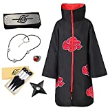 Itachi Cosplay Halloween Cloak Cosplay Costume Robe with Headband and Ring Cosplay Embroidery Uniform(Set1)