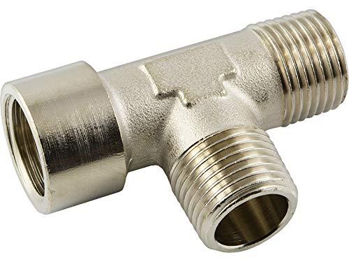 Fittingteile - T-Stück Verteiler Messing vernickelt Druckluft Wasser Sanitär (Ausführung: Innen x Außen x Außengewinde - Gewindegröße: G 3/8