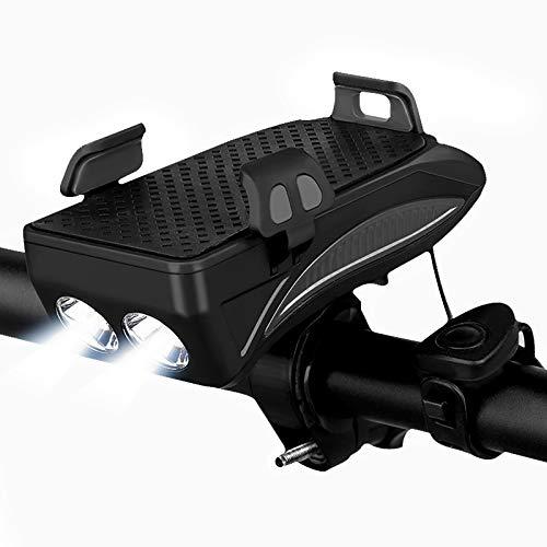 Fahrradscheinwerfer 4 in 1 Wiederaufladbare Vordere Fahrradlichter, 130 Dezibel Lautsprecher 400 Lumen Super Bright LED Fahrradbeleuchtung Handy Power Bank Fahrrad Handyhalter Halterung (schwarz)