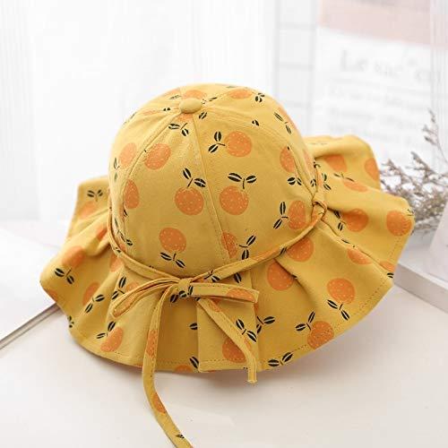 Weichuang Summer Kids Girls Sombrero grande con estampado de frutas para bebé, princesa, tapa para niños, accesorios para niños (color: naranja, tamaño: 6 meses a 5 años)