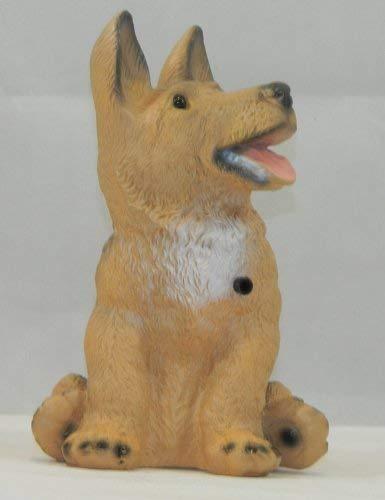 OM Deko Garten Figur Tierfigur Schäferhund klein mit Bewegungsmelder wau-wau aus Kunststoff Höhe 23 cm