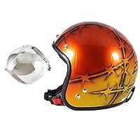 72JAM ジェットヘルメット&シールドセット ZEKE - オレンジ (フリーサイズ:57-60cm)+開閉式シールド (JCBN-02) 全排気量対応 SG規格 売れ筋