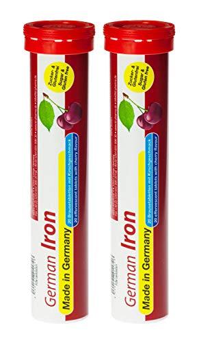 T&D Pharma German Iron/Eisen Zuckerfrei 2x20 Brausetabletten - 14 mg Eisen - Kirschgeschmack - Made in Germany
