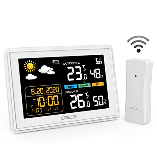 BACKTURE Wetterstation mit Außensensor Digitale Farbdisplay DCF Funkuhr Thermometer Hygrometer Multifunktionale Funkwetterstation Monitor Temperatur/Feuchtigkeit/Uhrzeitanzeige/Wettervorhersage/Wecker