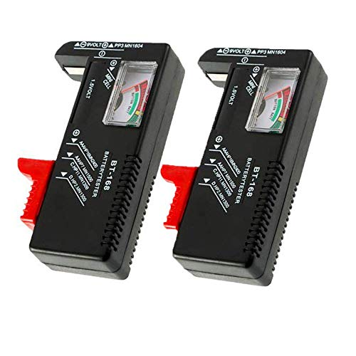 2 Pack Battery Tester, Universal Battery Checker for AA/AAA/C/D / 9V / 1.5V Button Cell Batteries