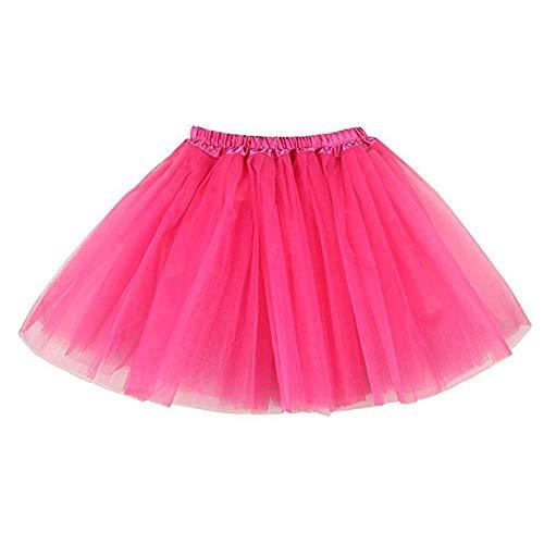 BETOY 2 pcs Mujeres Faldas Enaguas Cortas Tul Plisada Fiesta Tutu Ballet,Faldas Tul Mujer Enaguas Cortas Tutus Ballet Mini para Vestidos para Vestirse Disfraces Danza(Rosa)