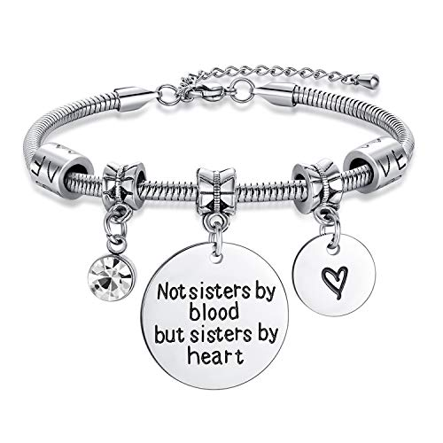 Braccialetto a serpente con scritta Jeracol con ciondolo a forma di serpente, in argento, con incisione 'Not Sisters by Blood but Sisters by Heart', regolabile, regalo per sorelle amiche e famiglie