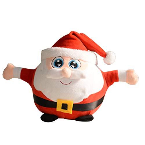 Toyvian giocattoli elettrici di Babbo Natale bambola musicale natalizia che balla e canta il giocattolo luminoso della Santa della peluche di natale
