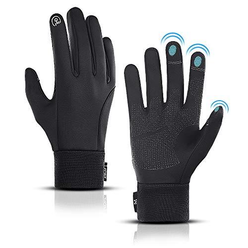 LERWAY Winter Warme Handschuhe, Touchscreen Winterhandschuhe Herren Damen Fahrradhandschuhe Sport Winddichte Handschuhe MTB Handschuhe Schwarz zum Radfahren, Laufen, Fahren, Joggen, Skifahren (L)