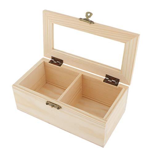 IPOTCH Holzkiste mit Deckel, Allzweck-Kiste aus Holz, Schmuckkasten Kleine Holzschatulle Aufbewahrungbox Teebeutelbox