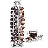 Porta capsule, porta cialde caffè Nespresso, Dispenser per Capsule caffè, in Metallo Cromato, Girevole, per 40 Capsule, Capsule girevoli 360°