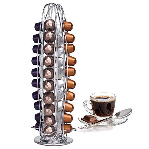 ICEWHWWL Kapselhalter, Kaffeepadständer Rotierend Platz Sparende Lösung für Nespresso 40 Stück, Kapseln Drehbar Kaffee Kapselständer Solide Silber Chrom Haltbar