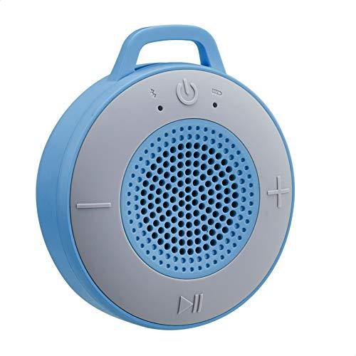 AmazonBasics - Altavoz inalámbrico para ducha, adjunta ventosa y micrófono incorporado, de 5 W, azul