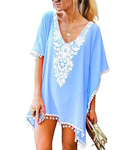 CPOKRTWSO Women#039s Pom Pom Crochet Chiffon Swimwear Beach Cover Up Sky Blue L/XL