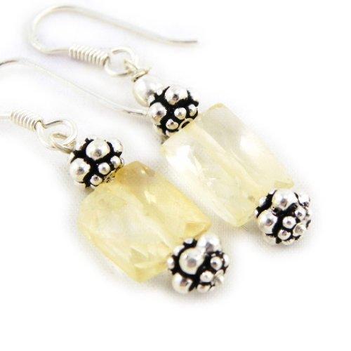 Les Trésors De Lily [C9521] - Ohrringe silber 'Minéralia' gelbe topas.