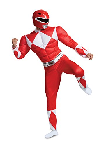 Disguise Herren Red Ranger Classic Muscle Adult Costume Kostüme für Erwachsene, rot, XX-Large (50-52) US