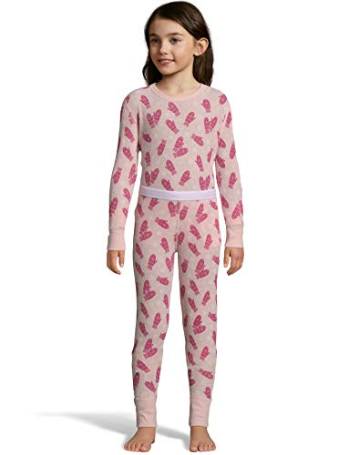 Hanes Hanes Girls Print Waffle Knit Thermal Set (125701) -Pink Mitte -XS