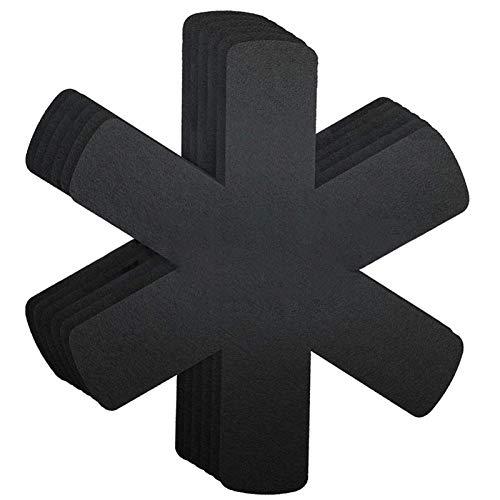 XUFAN 12 PCS/Set COCKETWARE Protector Conjunto Pot Pan Protectores Padres DE DIVIDOR PANTILLA DE Pan Protector EVISIBLE Derecha DE COCENUAR manteles (Color : Black)