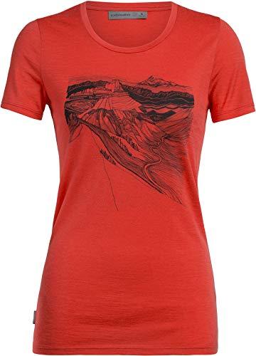 Icebreaker Tech Lite PCT Sketchbook T-Shirt Col Ras-du-Cou Bas Femme, Fire Modèle L 2020 T-Shirt Manches Courtes