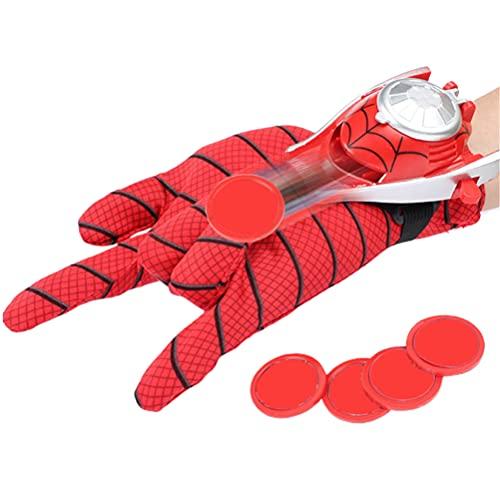TYTOGE Juguete de Spiderman, Guante de Lanzador de Héroe de Hombre Araña Cosplay, con 4 Metralla, Transmisor y Muñequera Accesorios de Disfraz de Super Spiderman