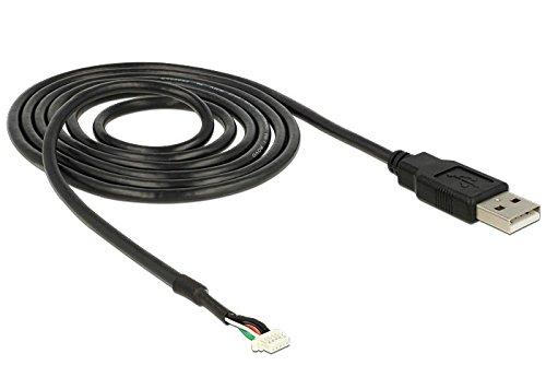 DeLOCK 95986 Adaptador de Cable USB 2.0 A 5-Pin SMT Negro - Adaptador para Cable (USB 2.0 A, 5-Pin SMT, Male Connector/Male Connector, 1,5 m, Negro)
