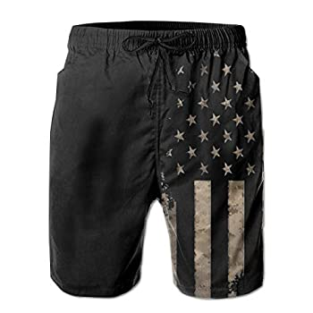 UOER Dark Black American Flag Mens Beach Shorts Swim Trunks Quick Drying Board Short with Mesh Lining