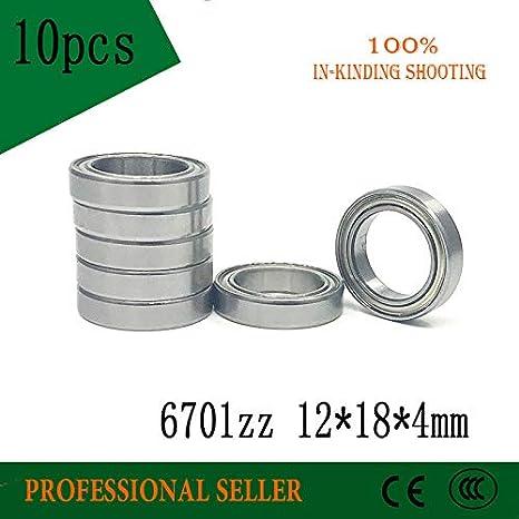 Ochoos 10pcs 6701ZZ Bearing ABEC-1 12x18x4 mm Thin Wall Section 6701 ZZ Ball Bearings 61701ZZ 6701Z