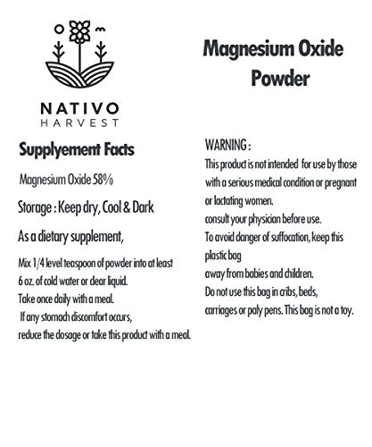 Magnesium Oxide Powder- Supports Normal Heart Function and Bone Formation Gentle Laxative Healthy Digestive Tract Regularity Formula Powder (100 Grams / 3.5 oz)