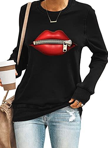 NC Damen Sweatshirt Casual Lose Langarmshirt Rundhals Lippen Pullover Bluse Oberteile (A Schwarz, M)