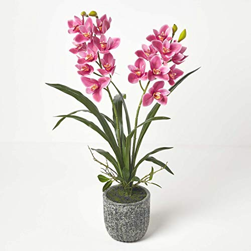 HOMESCAPES Large Artificial Red and Pink Orchid in Pot 80 m Tall Lifelike Faux Orchid Plant In Grey Cement Pot with Real Touch Silk Flowers and Green Leaves Cymbidium Orchid Flower Indoor Decoration