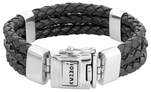 Kuzzoi Herren Lederarmband/Herrenarmband in schwarz mit massivem Silber Verschluß aus 925 Sterling Silber - 235039 (21.00)