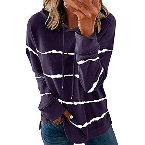 Geilisungren Damen Sweatshirt Pullover Langarmshirt Gestreift Druck Casual Hoodie...