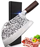 KITORY Forged Meat Cleaver Serbian Chef Knife Butcher Knife Kitchen Vegetable Meat Bone Chopper Knife 8 inch, High Carbon Steel, Wenge Wood Handle Professional Chef Cutlery for Home, Restaurant