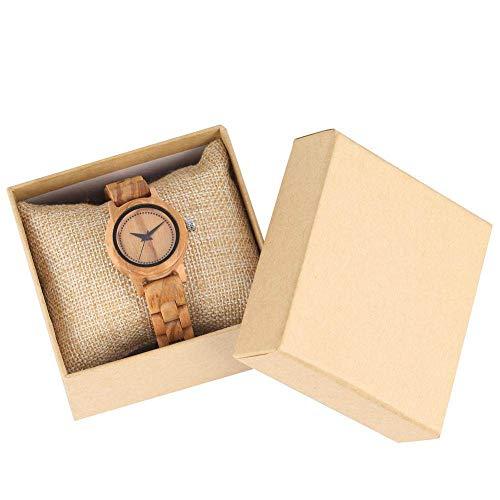 IOMLOP Träklocka utmärkt bambu träklocka för kvinnor rådgivning urtavla med lysande visare kvinnlig armbandsklocka armbandsklocka, med låda