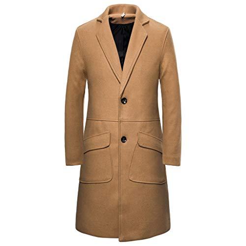 Best Prices! Pumsun Men's Winter Warm Long Trench Solid Color Trim Button Outwear Coat Lapel Woolen ...