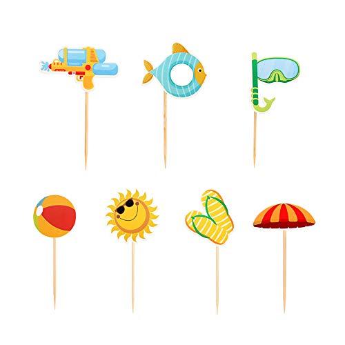 Ercadio 28 Pack Summer Beach Hawaii Cupcake Toppers Sun Umbrella Ball Diving Goggles Water Gun Slippers Cupcake Picks Baby Shower Hawaii Pool Theme Birthday Party Cake Decorations