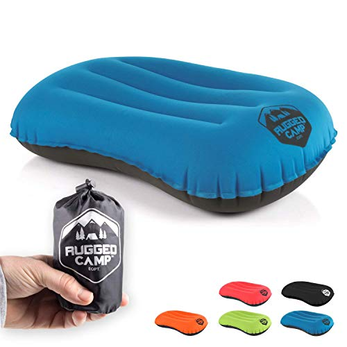 Camping Pillow - Inflatable Travel Pillows - Multiple Colors - Compressible, Lightweight, Ergonomic Head Neck Support Camping Plane Travel - Lumbar Back Support (Blue/Black)