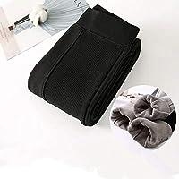 YMXMY ストレッチビロードの厚い秋と冬のレギンス女性のパンツハイウエストの暖かいレギンス鉛筆パンツタイトフィットウールレギンス (Color : Black leggings, Size : M)