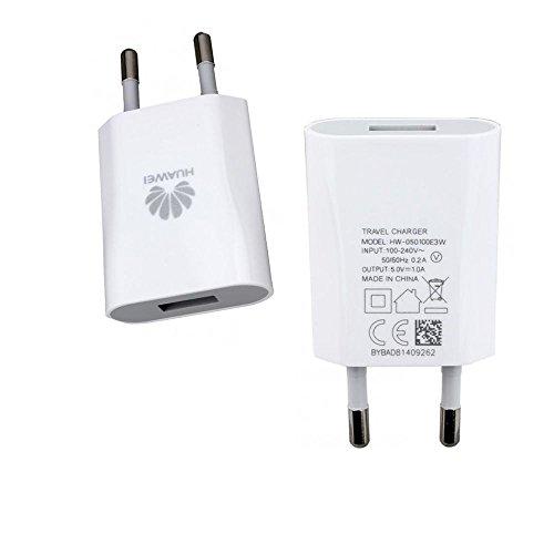Cargador Huawei HW-050100E3W (1,0A) con cable micro-USB, color blanco. Compatible con Huawei Ascend D1, D2, G300, G330, U8825D, G500, G510, G600, Ascend Mate, Ascend P1, P2, Y200, Y201, Y300, Honor 2,etc.