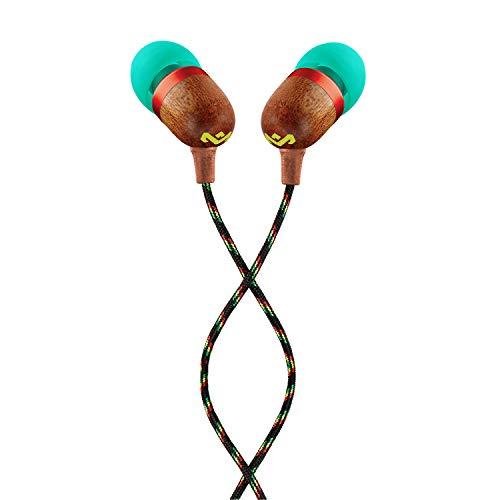House of Marley Smile Jamaica In-Ear Kopfhörer, 1-Knopf Steuerung, Geräuschisolierung, 9,2mm Treiber, Mikrofon, Gelaufsätze in 2 verschiedenen Größen, verwicklungsfreies Kabel, Rasta