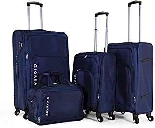 Giordano Luggage - 975238 Soft Case Trolley 4 Pcs Set With Beauty Case With 4 Wheel, Navy, Unisex