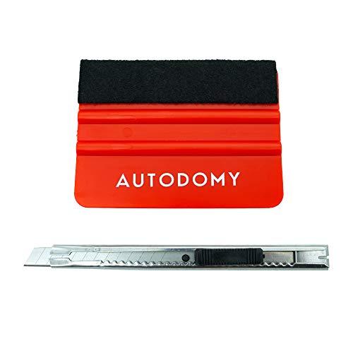 Autodomy Espátula Paleta con Fieltro para Aplicación de Vinilo Adhesivo Rotulación Carwrapping + Cúter Cuchilla de Corte