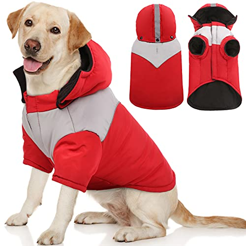 Kuoser Dog Winter Coat with Hood, Windproof & Snowproof Pet Fleece Lined Warm Jacket, Reflective Puppy Thick Cold Weather Vest Outdoor Padded Clothes...