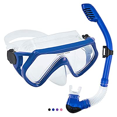 Seals Snorkeling Package Set for Adults, Anti-Fog Tempered Glass Snorke Diving Mask, Anti Leak Snorkel Gear with Silicon Mouth Piece, Purge Valve for Snorkeling, Swimming, Diving (Blue)