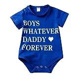 LABIUO 0-24 Monate Baby Strampler Jungen Kurzarm Overall Lässiger Brief Druck Baumwolle Jumpsuit Bodysuit(Blau,0-6 Monate/70)