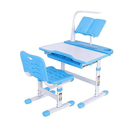XUSHEN-HU Niños estudio teórico de los niños Juego de sillas de escritorio y sillas elevadoras mesa de estudio fácil de configurar adecuados for estudiantes de primaria Aprender 0,8 metros (Color: azu