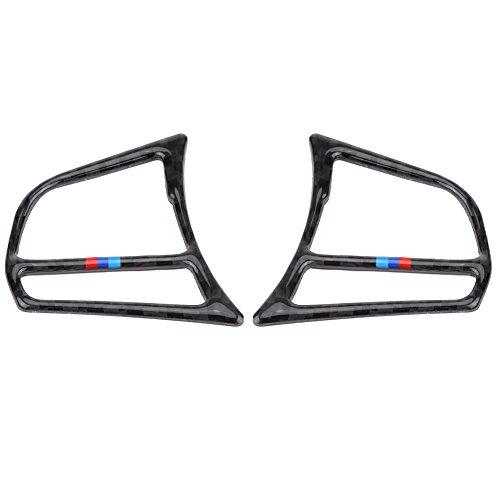 KIMISS Auto Lenkrad Taste Aufkleber, Carbon Fiber Autolenkradabdeckung Premium Lenkrad Knopfrahmen Cover Trim Aufkleber(B)