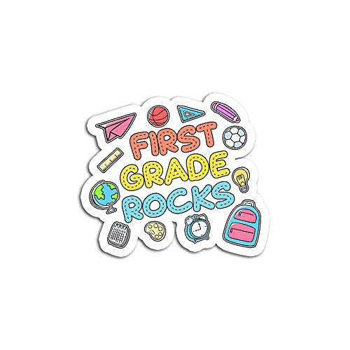Sticker Vinyl Decal for Cars, Water Bottle, Fridge, Laptop 1st Grade Rocks Back to School First Grader Cute GIF Stickers for Personalize (3 pcs/Pack)