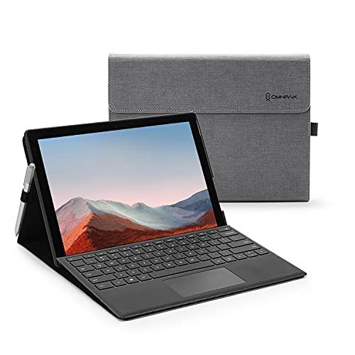 Omnpak Hülle für Microsoft Surface pro 7+(2021)/ Surface pro 7(2019)/ Surface Pro 6(2018)/ Surface Pro 5(2017)/ Surface Pro 4, Anpassbarer Betrachtungswinkel, Kompatibel mit der Type Cover Tastatur